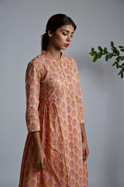 Peach Rose BlockPrint Bhopali Kurta
