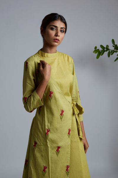 Olive Green Blockprint Wrap Kurta