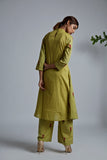 Olive Green Blockprint Wrap kurta with Pants - Set of 2