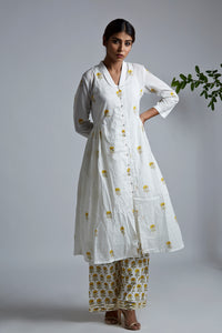 Mini Yellow Blockprint Bhopali jacket Kurta with Yellow Blockprint Pants - Set of 2