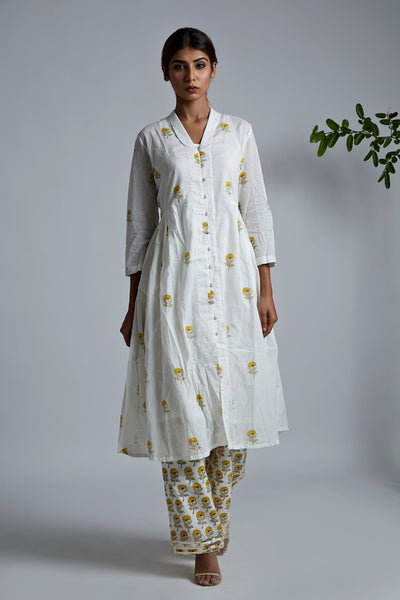 Mini Yellow Blockprint Bhopali Jacket Kurta