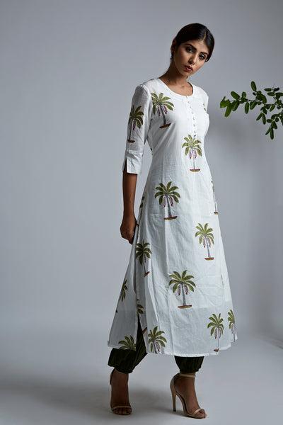 Palm Tree BlockPrint A-Line Kurta with Pleated Pants & Dupatta - Set of 3