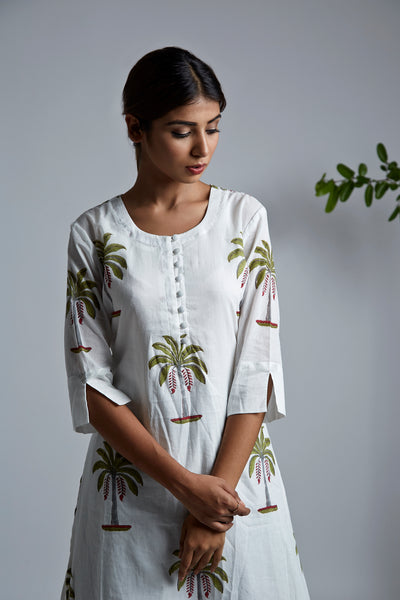 Palm Tree BlockPrint A-Line Kurta