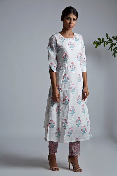Pink Offwhite BlockPrint A-Line Kurta with Pants - Set of 2