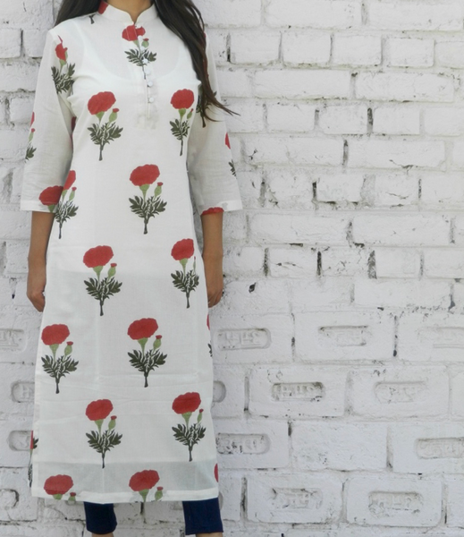 Red Mogra Block Print Straight Kurta