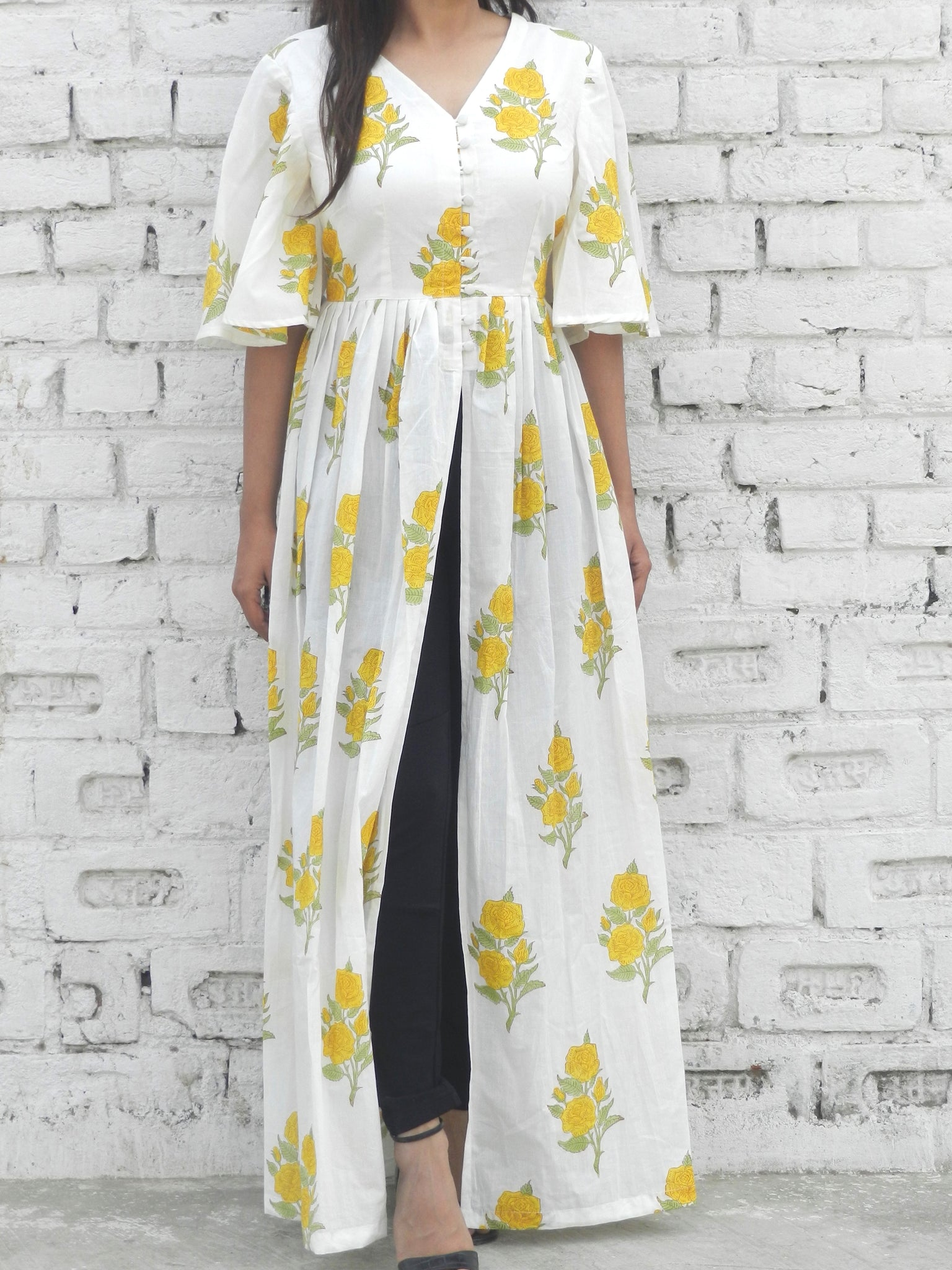 Yellow Rose Blockprint Cape