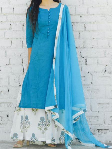 Blue Hibiscus Print Sharara Set