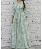 Mint Flower Blockprint Maxi