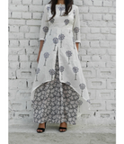 Grey High Low Cape with Base Grey Floral Wide Leg Pants