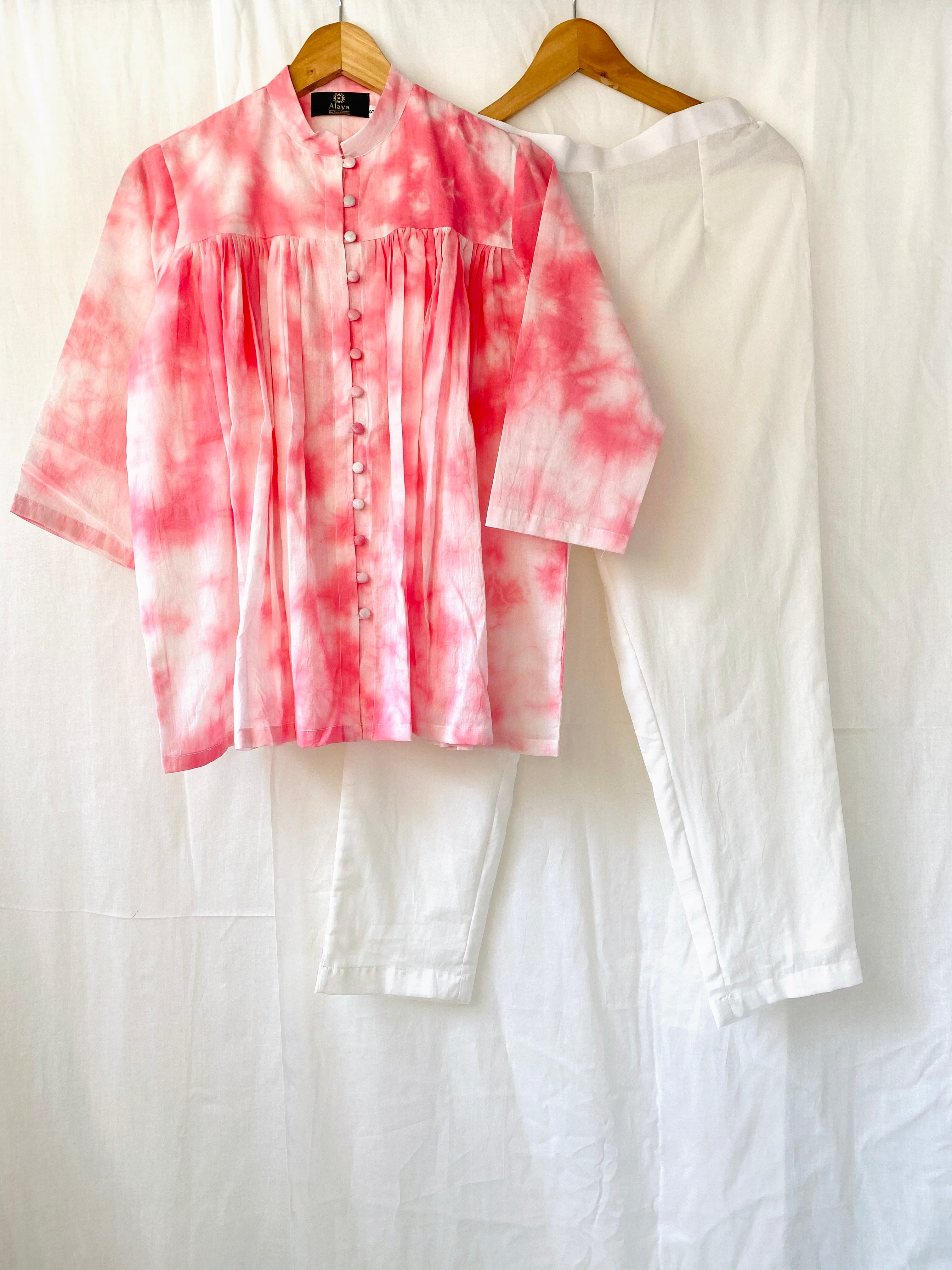 Pink Tie Dye Top with solid White Pants