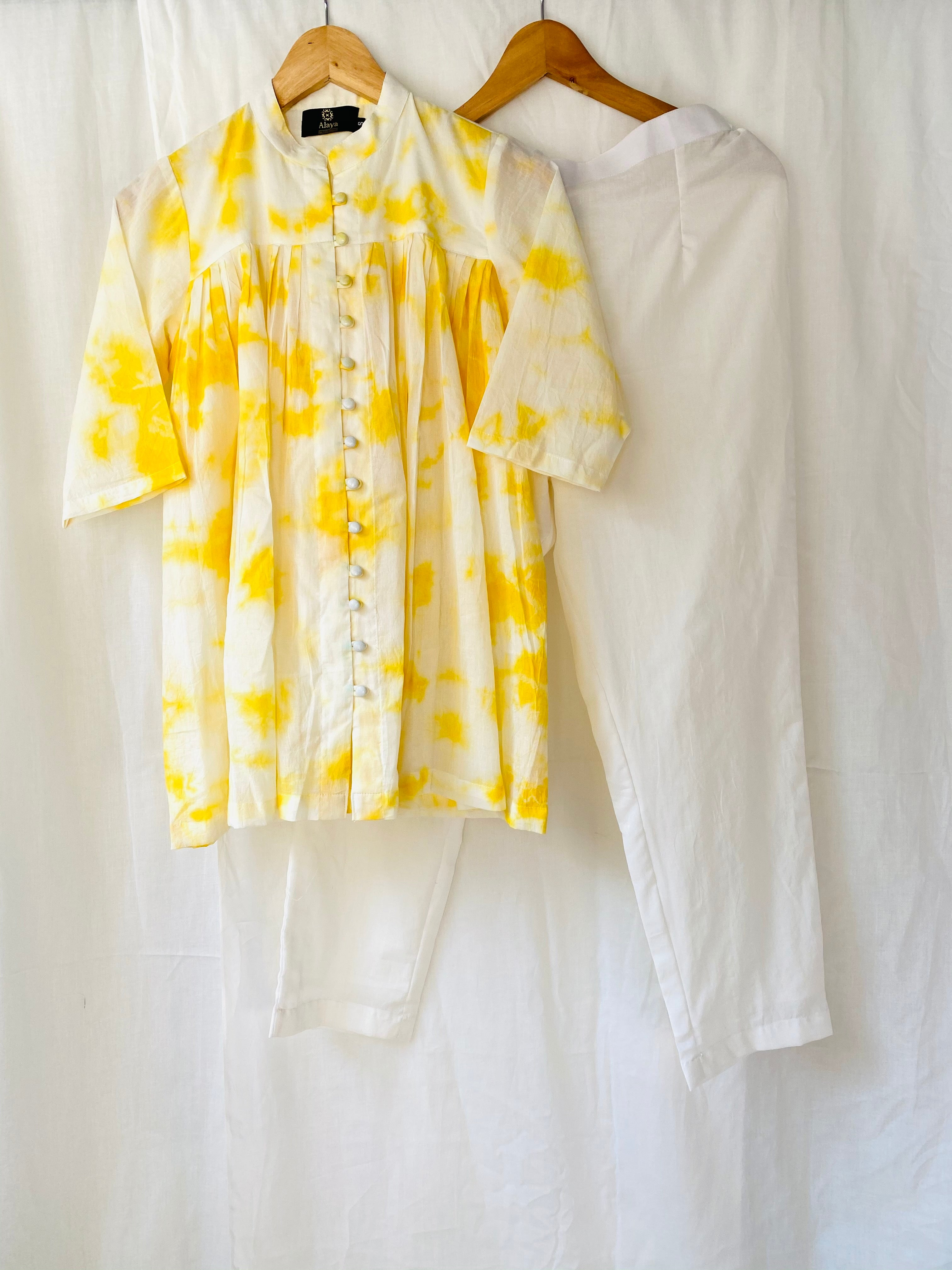 Yellow Tie Dye Top with solid White Pants