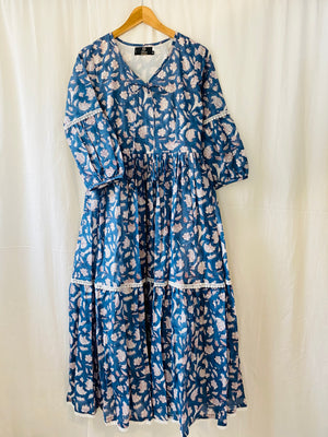 Open image in slideshow, Blue Indigo Flora Tiered Maxi