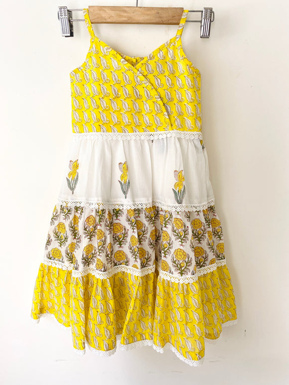 Sleeveless Lemon Mini Flora Maxi