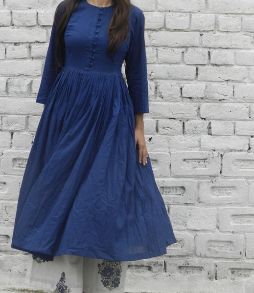 Navy Gathered Kurta With Blue Block Print Pallazo set
