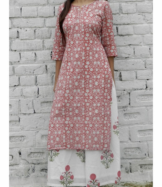 Pink Floral Base Kurta With Pink Blockprint Wide Leg Pants