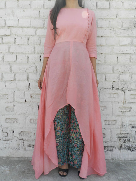 Pink Mulmul Cape & Teal Blue Pallazo Set