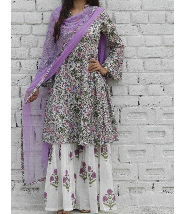 Colour Burst Kurta With Lilac Sharara Pants