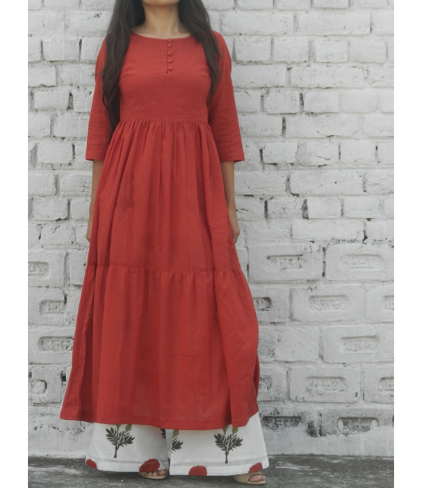 Red Frilled Kurta And Red Mogra Flared Pants