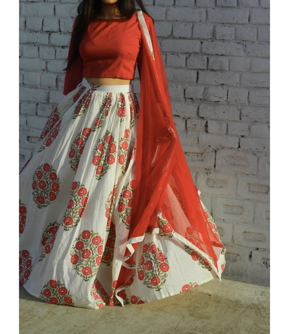Red Flower Garland Lehenga
