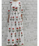 Red Mogra Front Loop Buttoned Maxi