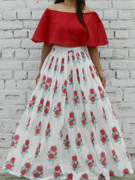 Red Rose Offshoulder Twin Set