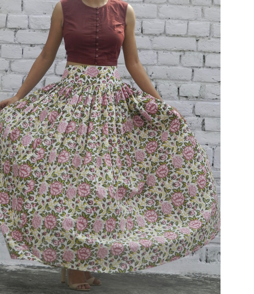 Rose Garden Skirt with Marsala Crop Top Set