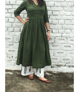 Teal Green Gathered Kurta With Twin Block Print Pallazo Set