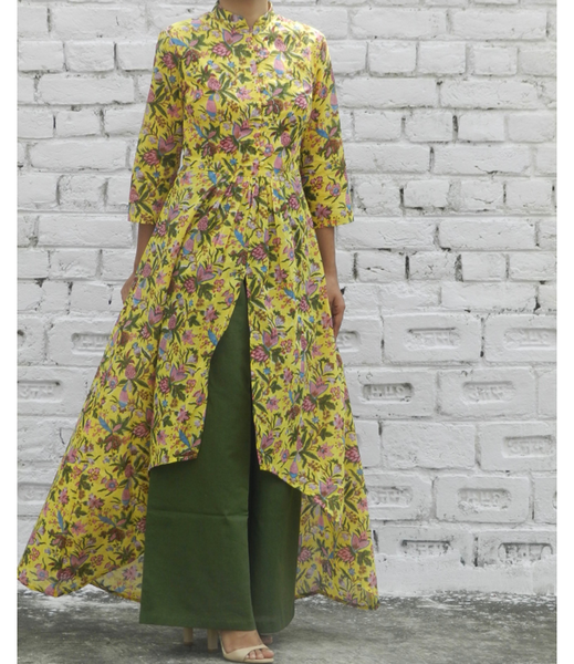 Yellow Floral High Low Mandarin Cape With Wide Leg Pants