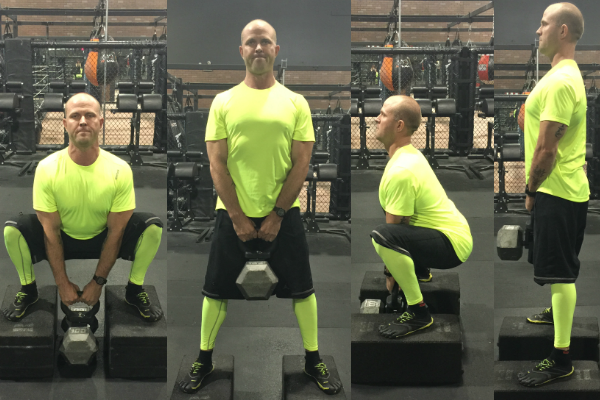 Kettlebell goblet squat with the Kettleclamp