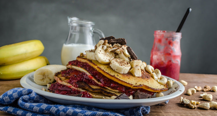 currant and banana pancakes