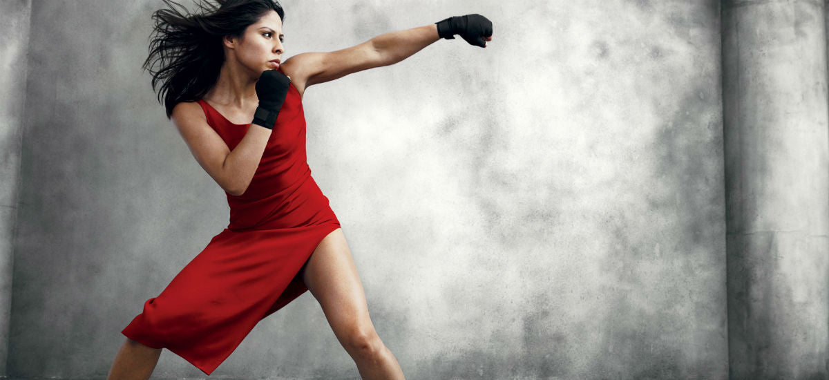 boxing woman red dress