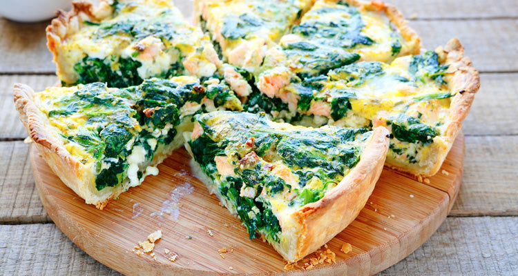 kale quiche with cheddar crust