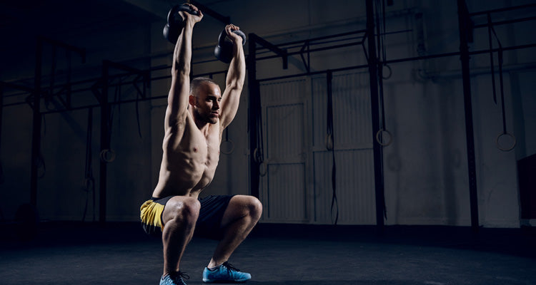 push press squat with kettlebell