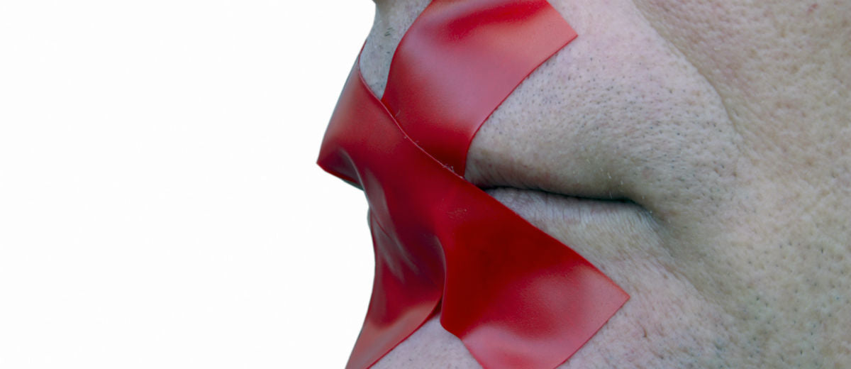 woman taped red