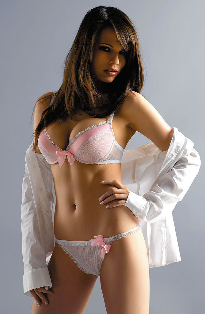 Sexy Pink Cindy everyday push up soft cups plunge pladded bra center big bow satin trim. Here's a great gift for something that's really pretty UK Bridalicious