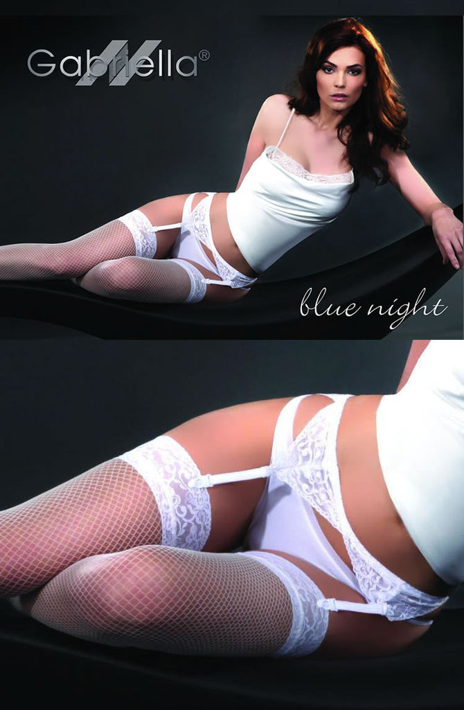 Blue Night Stocking & Suspender Belt Set - BB Lingerie