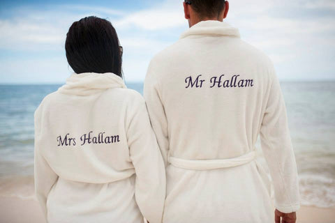 Personalised Bath Towelling Robe Dressing Gown for Bride and Groom UK Bridalicious