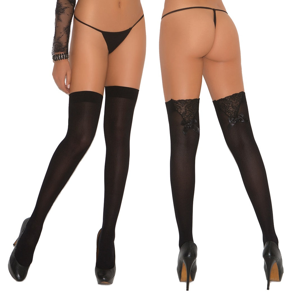 Lace Top Hold Ups with Bow - BB Lingerie