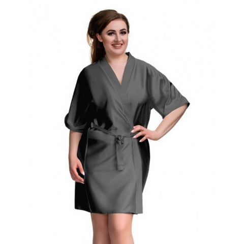 Kendall Black/Grey Satin Robe - BB Lingerie