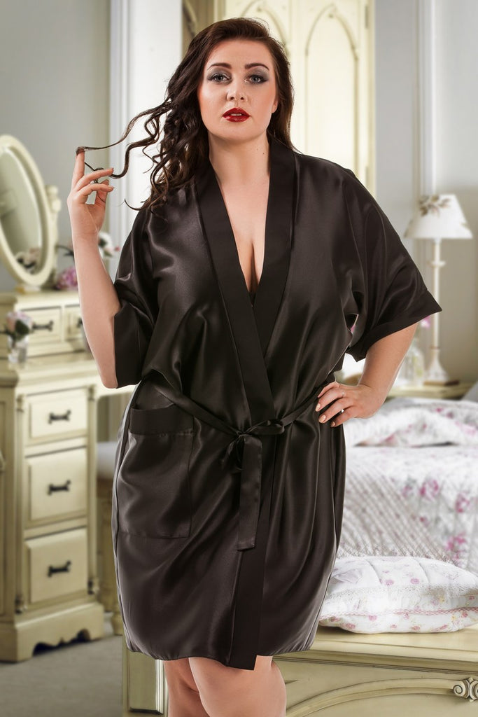 Black Personalised Satin Bridal Robe Dressing Gown Customised Personalized Wedding Day Cheap Bridesmaid Plus Size