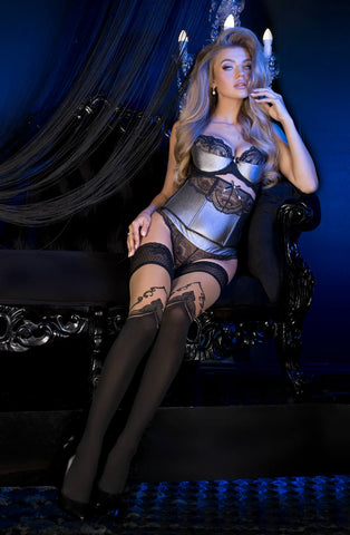B492 Black Faux Over The Knee Hold Ups