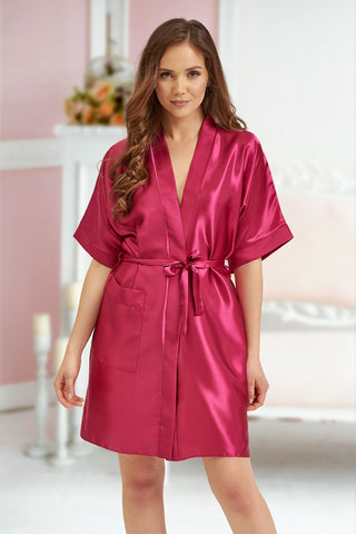 Kendall Red/Burgundy Satin Robe - BB Lingerie