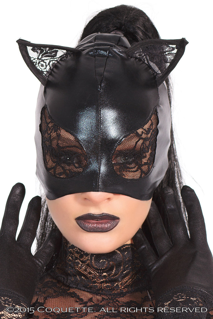 Sexy Black Halloween fancy costume accessory Wet look cat mask lace eyes & ears zombie skeleton witch car party ghost night gift for her cheap UK Bridalicious