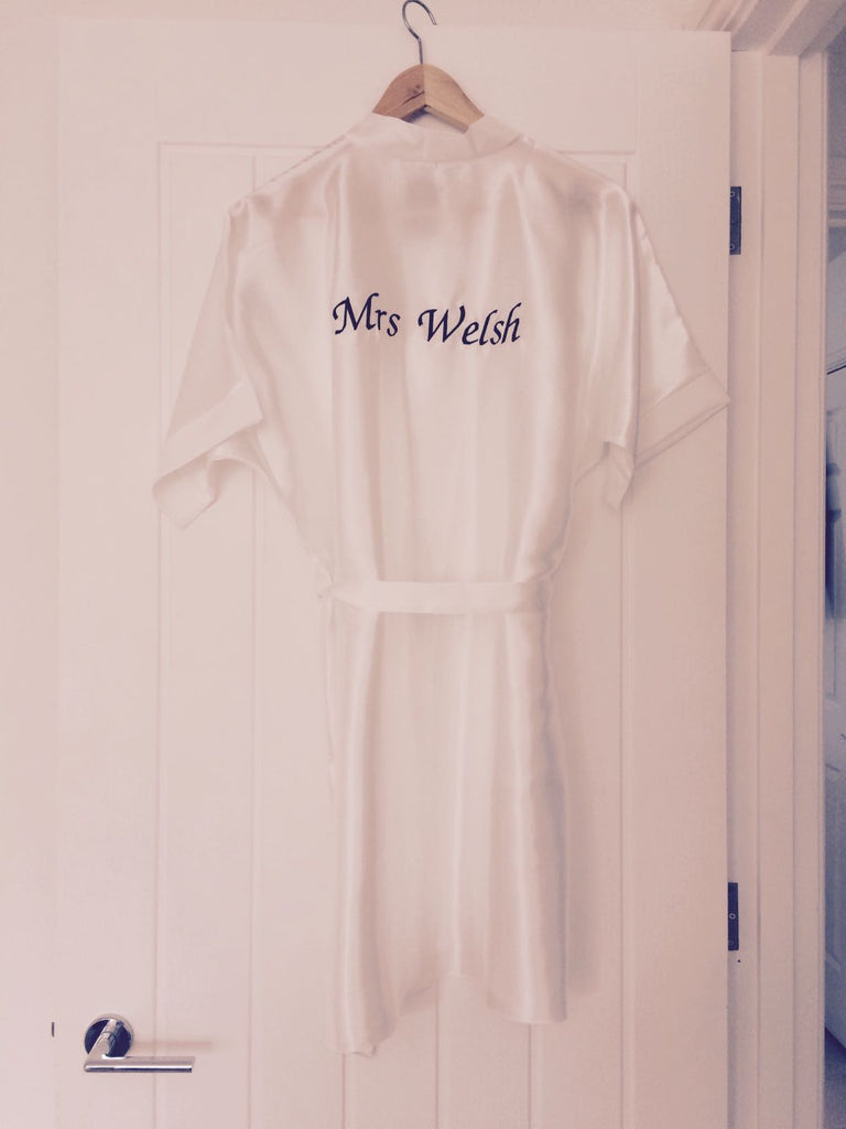Personalised Satin Plus Size Kimono Robe Dressing Gown for Bride to Be Embroidery Classy Personalized