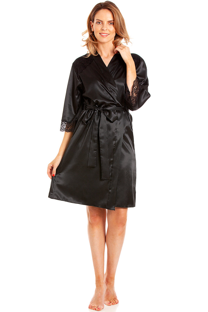 Penny Satin & Lace Robe - BB Lingerie