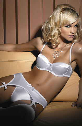 Sexy Bridal White Ivory Fabulous everyday push up soft cup padded plunge strapless bra matching thong suspender belt strapless Padded cup Peekaboo gift cheap UK Bridalicious
