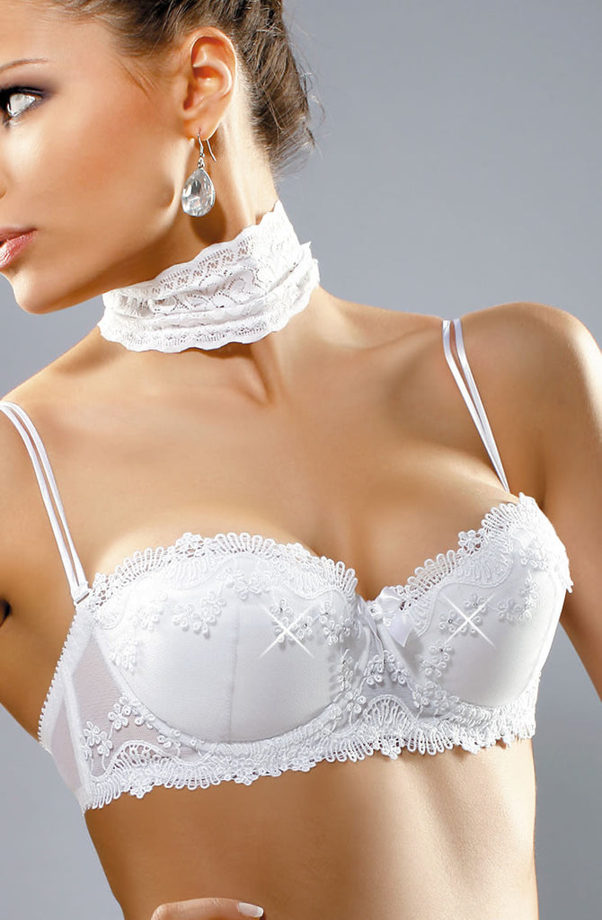Sexy Bridal white madonna push up plunge padded lace embroidery tiny Swarvoski crystals unique balconette strapless bra providing uplift thong suspender belt UK Bridalicious