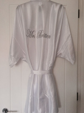 Cute satin Bridal Party Robes for Wedding Day Morning Personalised for special touch/gift for your bridesmaids.Pretty crystals at cheap price up to Plus Sizes