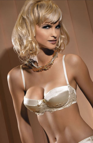 Sexy Cream Rokoko balconette lovely embroidery detail satin bow trim between cups padded strapless bra removable straps gift for her cheap price matching thong UK Bridalicious