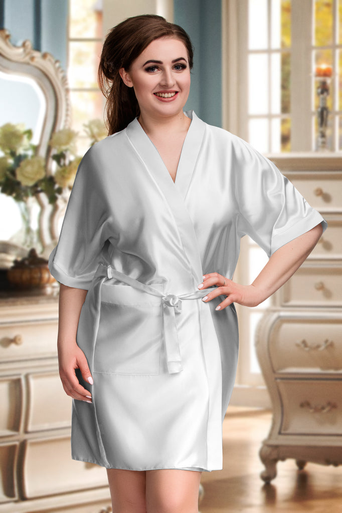 Silver Personalised Satin Plus Size Kimono Robe Dressing Gown for Bride to Be Embroidery Classy Personalized